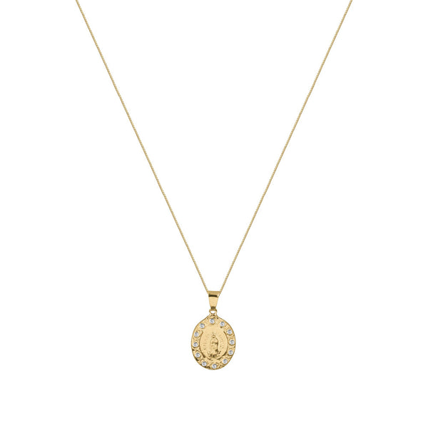 THE PAVE BEZEL LADY MEDAL NECKLACE
