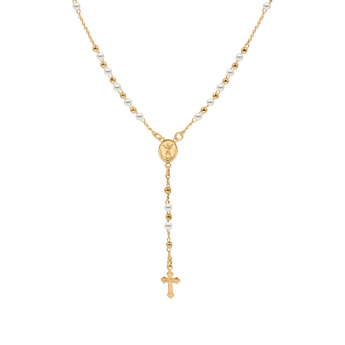 THE GOLDEN PEARL ROSARY NECKLACE