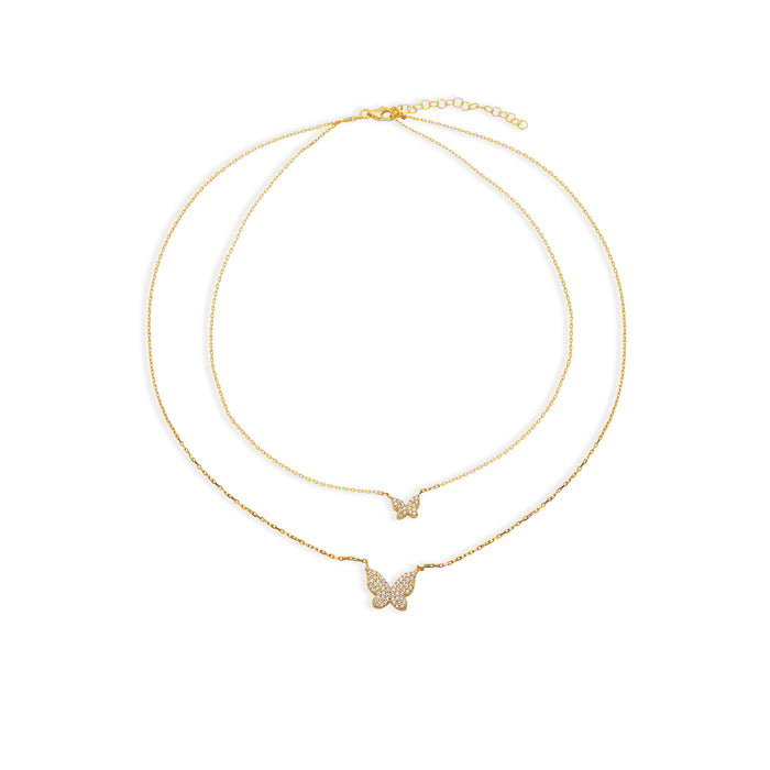THE DOUBLE CHAIN PAVE LAYERING BUTTERFLY NECKLACE
