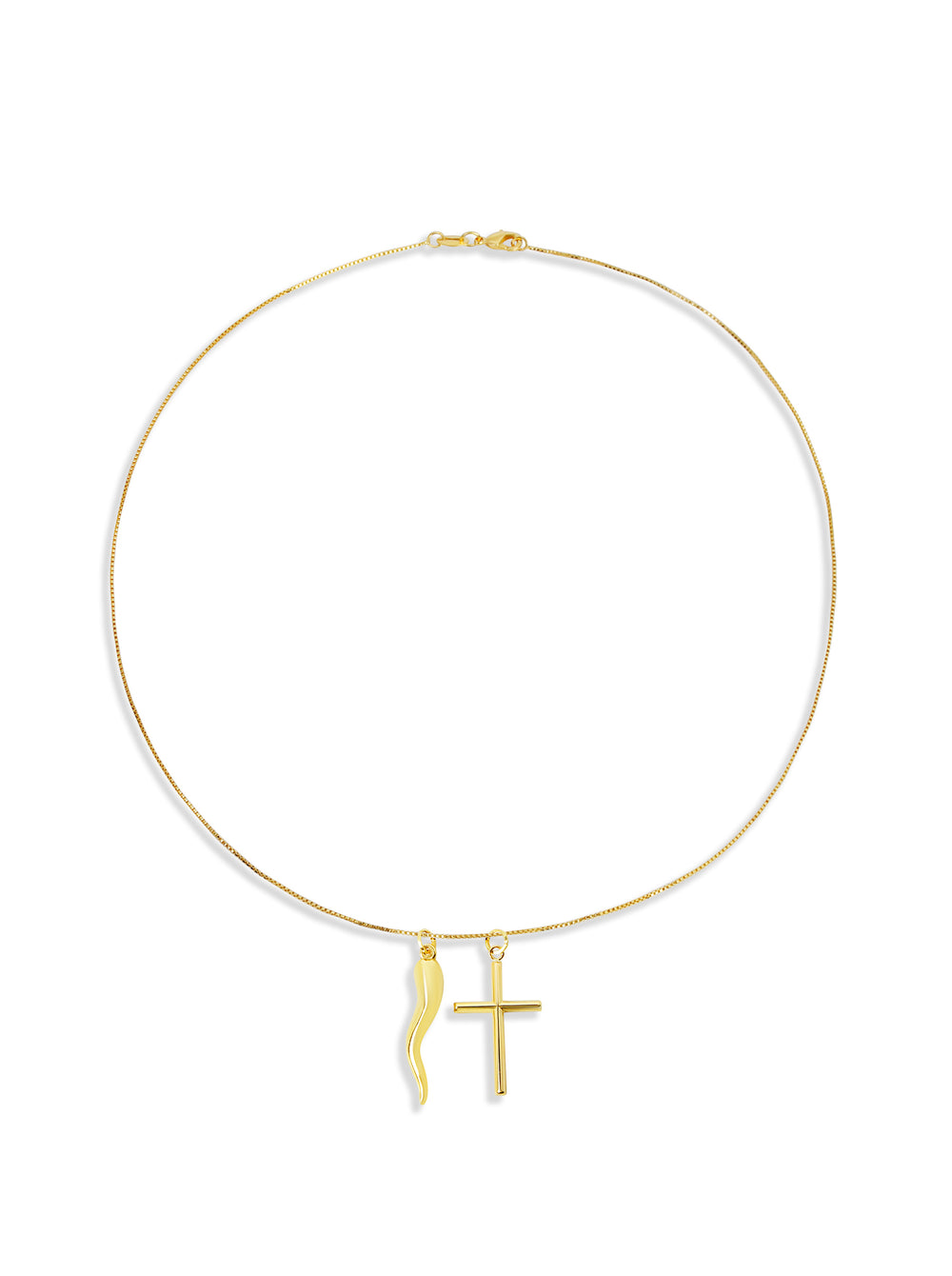 THE HORN CROSS 14KT PENDANT NECKLACE