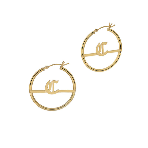 THE MINI GOTHIC INITIAL HOOPS