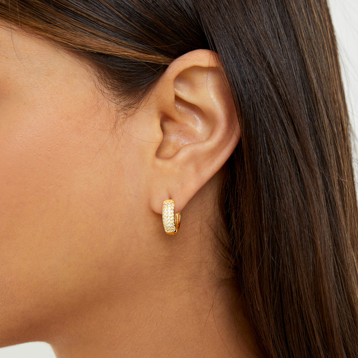 THE PAVE HUGGIE HOOP EARRINGS