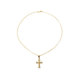 THE PAVE' ROSE CROSS NECKLACE