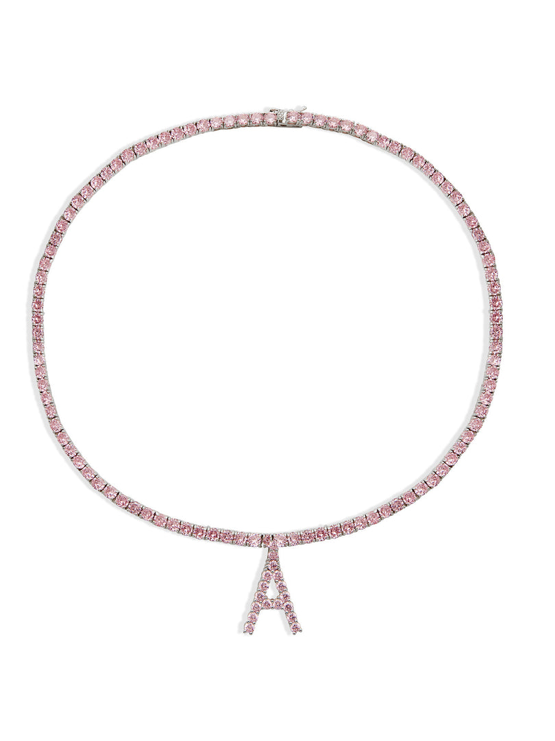 THE PINK ICED OUT LETTER NECKLACE