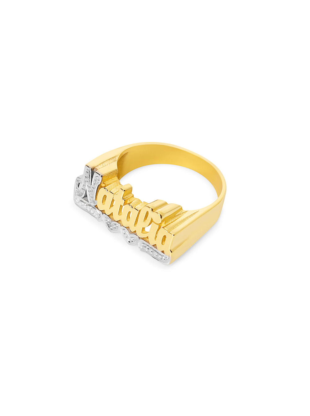 THE CLASSIC DOUBLE HEART CUT NAME RING