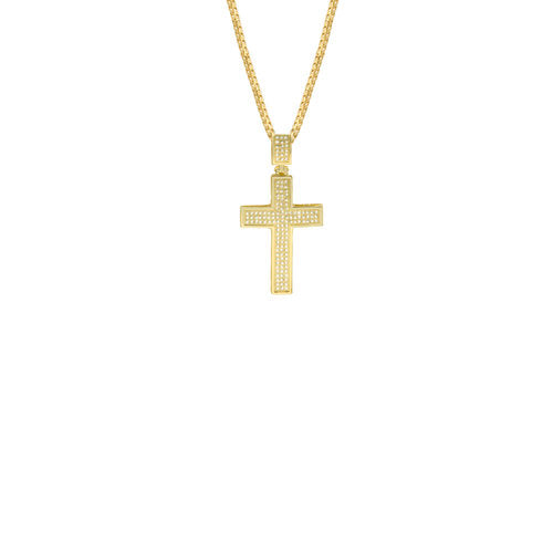 THE PAVE' LRG CROSS PENDANT NECKLACE