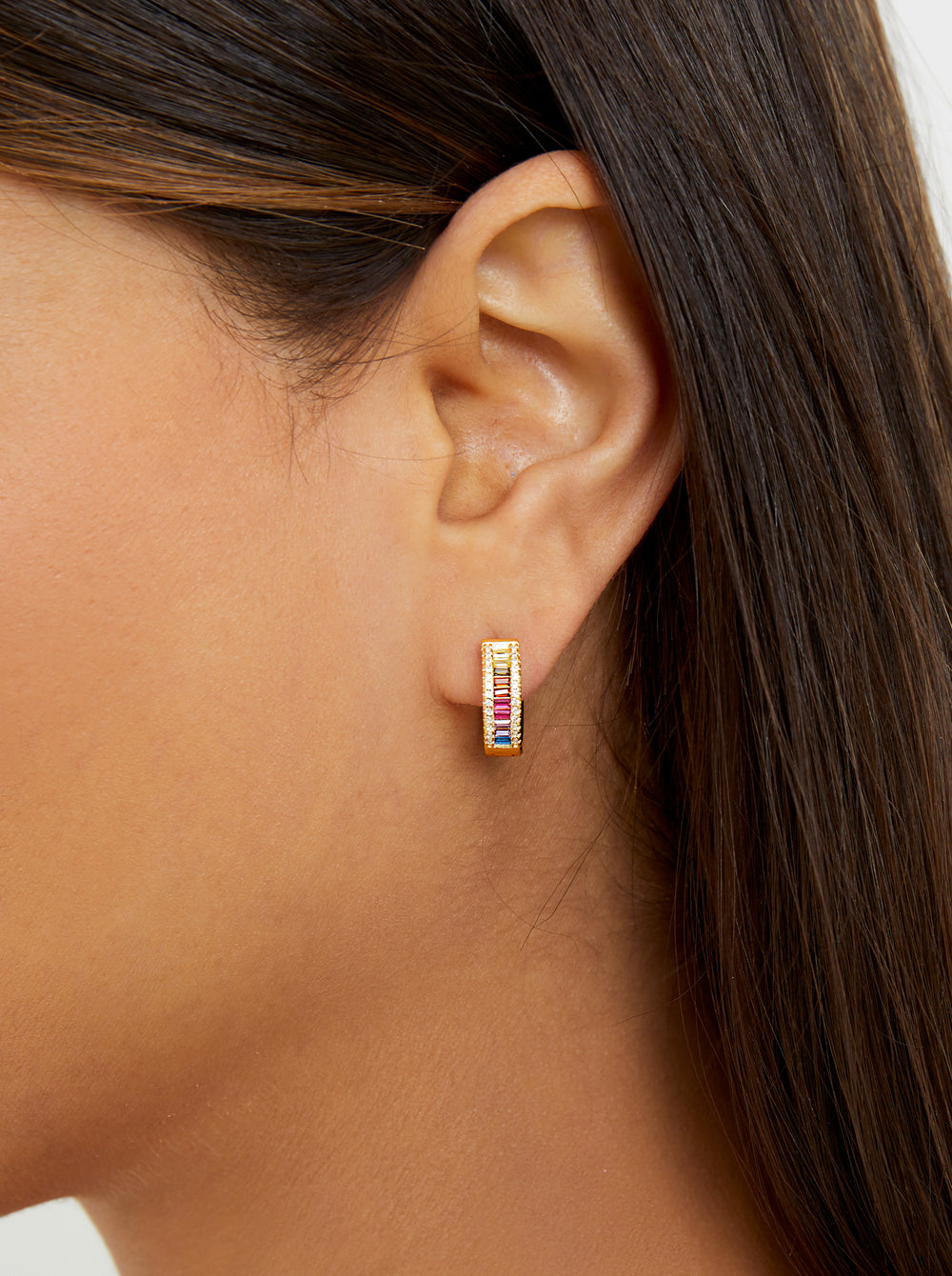 THE RAINBOW BAGUETTE CHANNEL SET HUGGIE EARRINGS