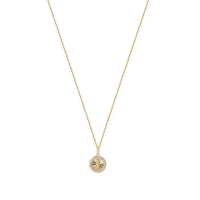 THE PAVE' CIRCLE GUADALUPE PENDANT NECKLACE