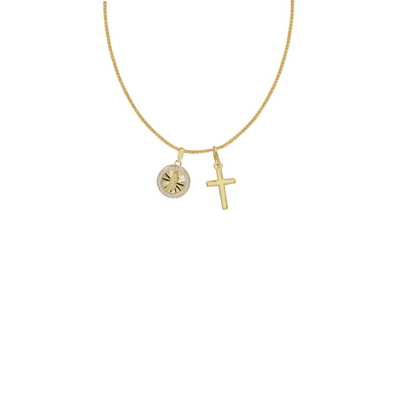 THE ROUND PAVE' GUADALUPE CROSS NECKLACE