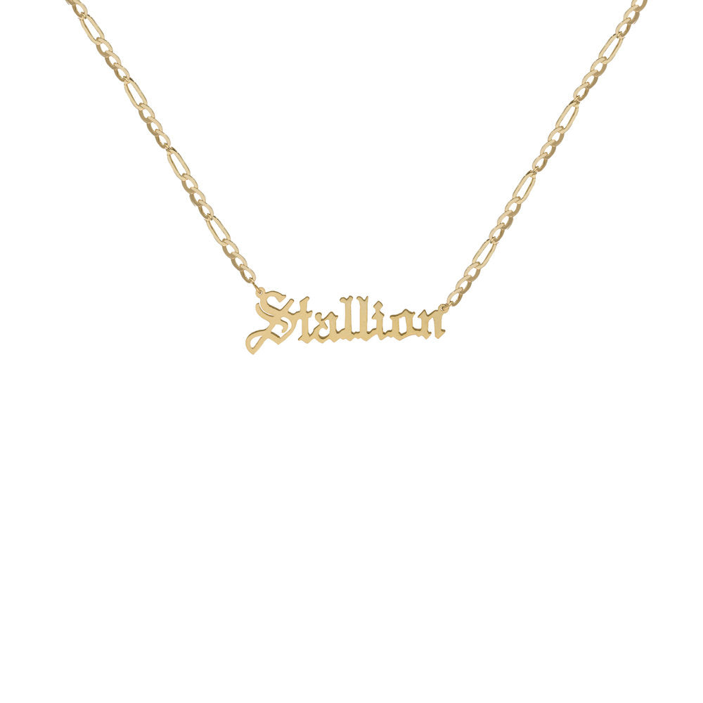 THE SMALL GOTHIC NAMEPLATE NECKLACE (MENS)