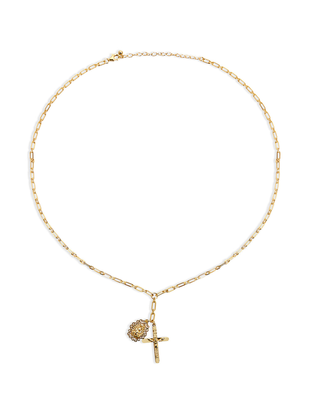 THE MARY/CRUCIFIX REDA LINK DROP NECKLACE
