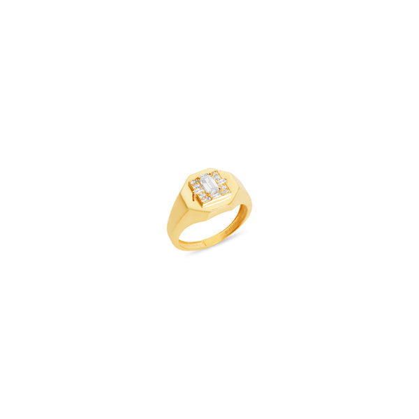 THE BAGUETTE STONE SIGNET RING