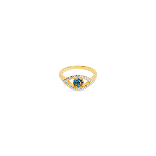 THE OPEN CUT PAVE' EVIL EYE RING