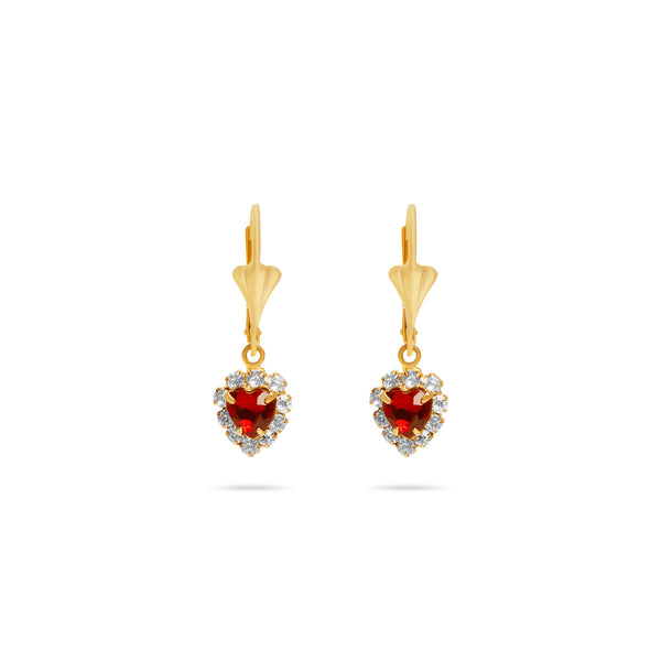 THE LUA RUBY HEART EARRINGS