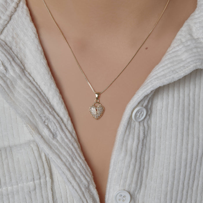 THE PAVE' HEART LOCK NECKLACE