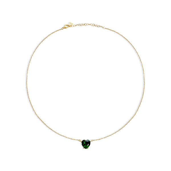 THE GREEN EMERALD HEART PENDANT NECKLACE