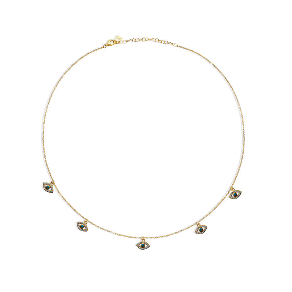 THE EVIL EYE PAVE' CHARM COLLAR NECKLACE