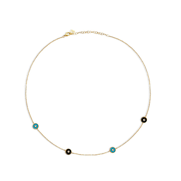 THE EVIL EYE ENAMEL COLLAR NECKLACE