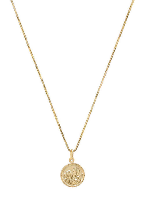 THE TINY ROUND DISC ANGEL NECKLACE