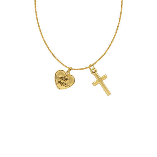 THE TINY ANGEL/CROSS NECKLACE