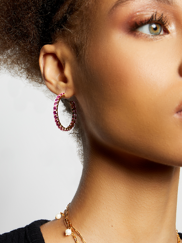 THE MAGENTA OPEN HOOP EARRINGS