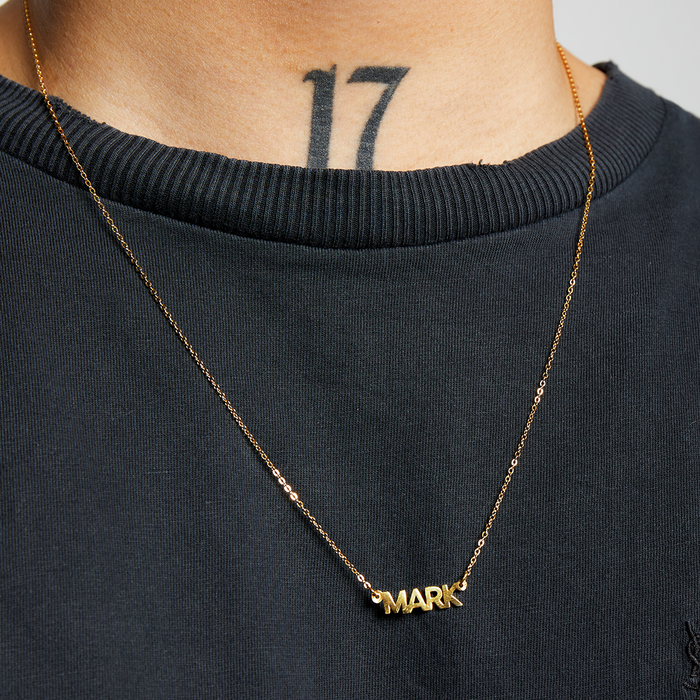 BLOCK NAMEPLATE NECKLACE (MENS)