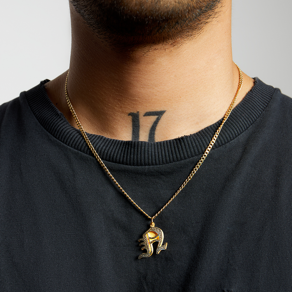 THE DOUBLE PLATE UPPER CASE OLD ENGLISH PENDANT (CHAPTER II BY GREG YÜNA X THE M JEWELERS)