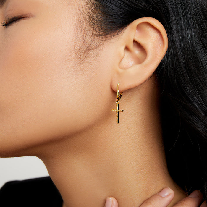 THE HANGING PAVE CROSS EARRINGS