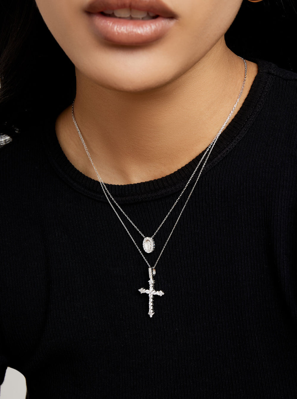 THE DANIELLA PAVE' CROSS NECKLACE