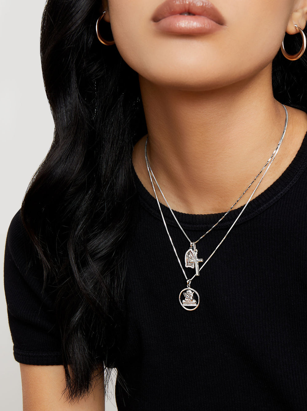 THE CHRYSTIE PAVE' ANGEL PENDANT NECKLACE