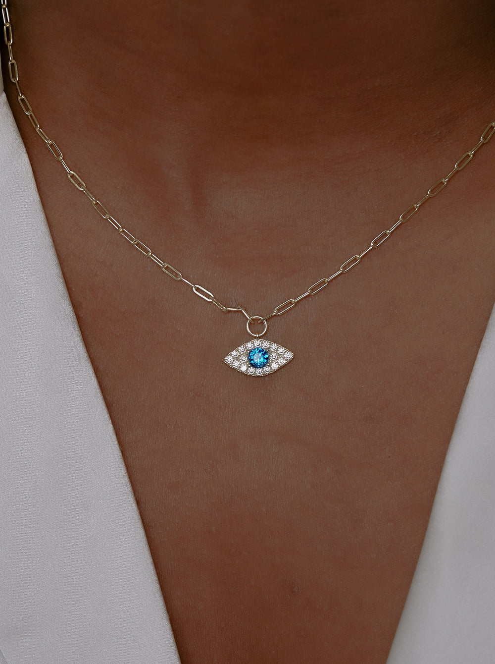 THE PAVE EVIL EYE REDA LINK PENDANT NECKLACE