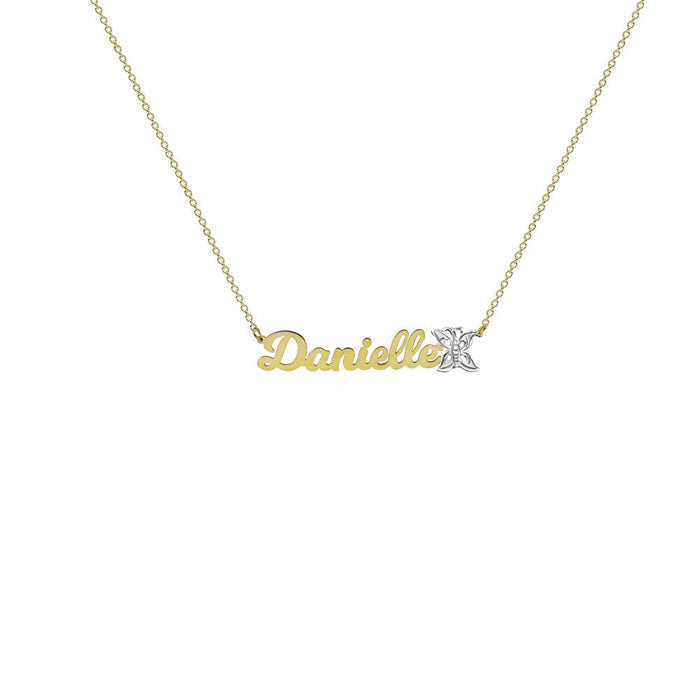THE SINGLE BUTTERFLY NAMEPLATE NECKLACE
