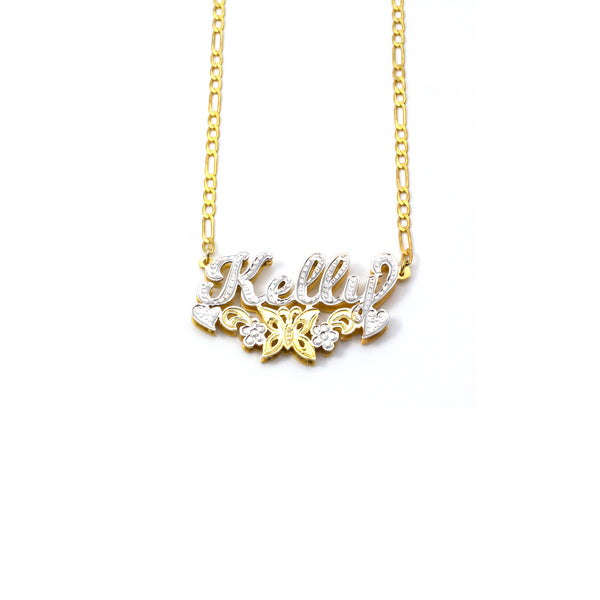 THE BUTTERFLY FLOWER NAMEPLATE NECKLACE