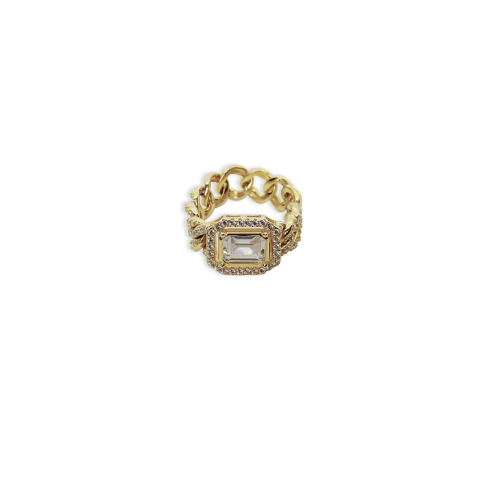 THE HALO COLORED STONE CUBAN LINK CHAIN RING (CHAPTER II BY GREG YÜNA X THE M JEWELERS)