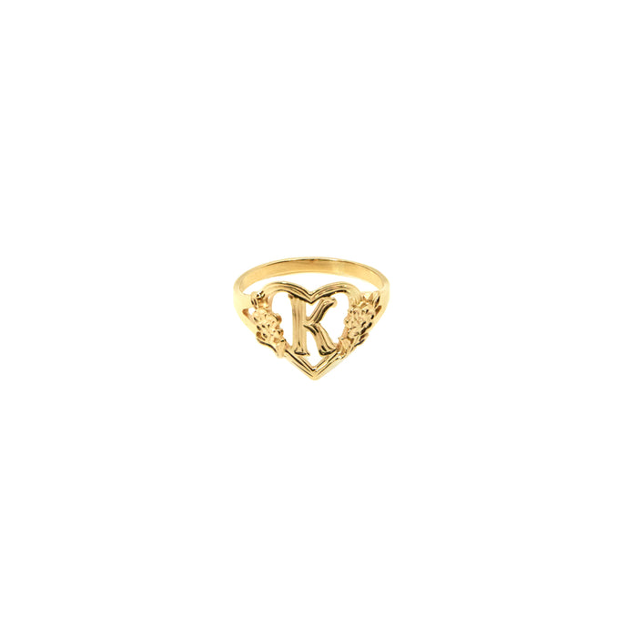 THE CUTOUT FLOWER HEART LETTER RING