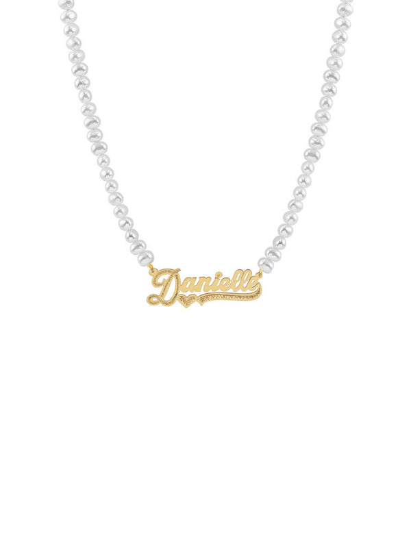 THE PEARL CUT TONE NAMEPLATE NECKLACE