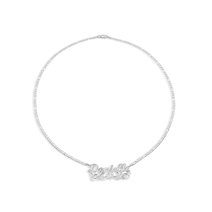 THE DOVE HEART SCRIPT NAMEPLATE NECKLACE