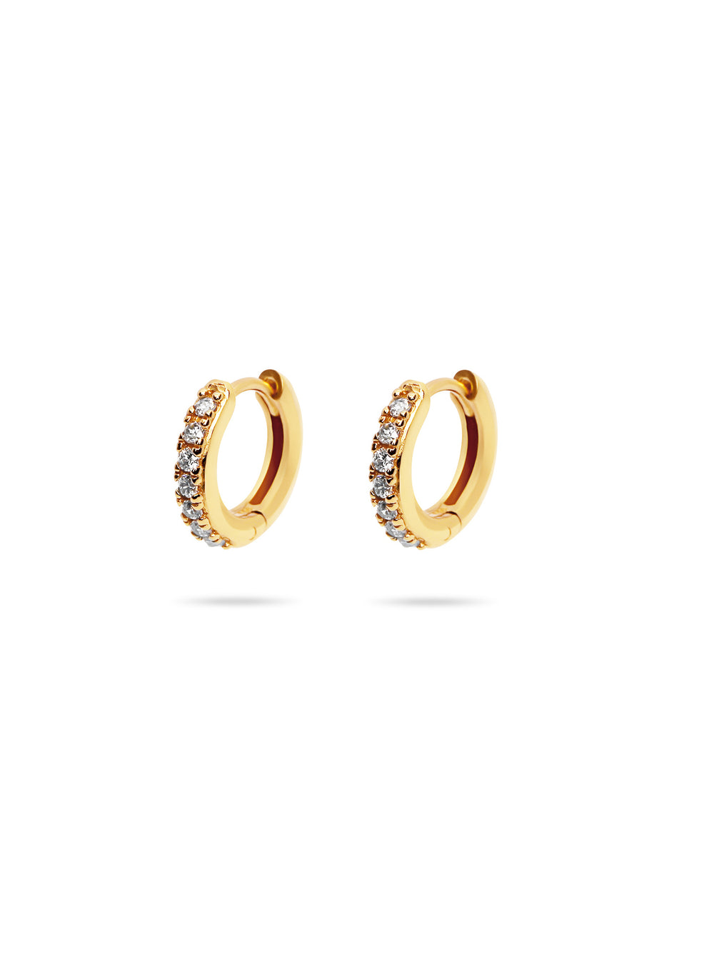 THE MINI PAVE HUGGIE EARRINGS