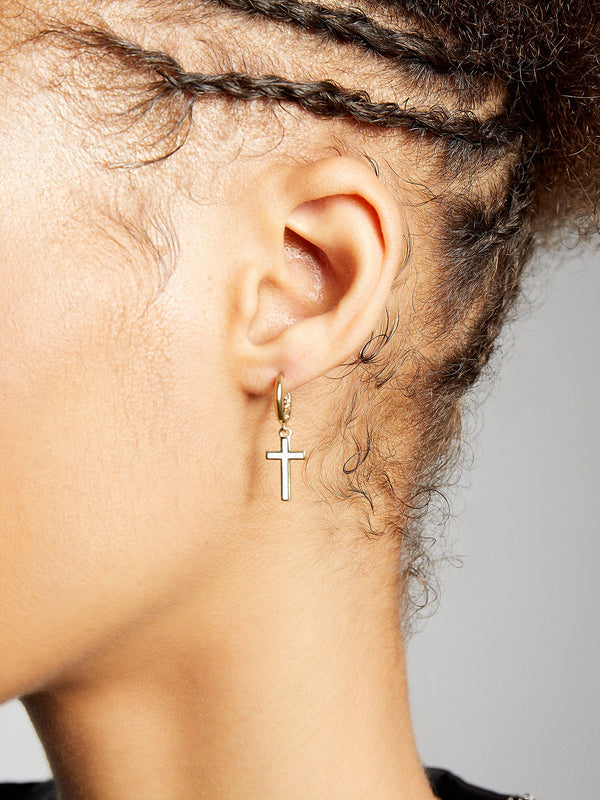 THE ENAMEL CROSS EARRINGS
