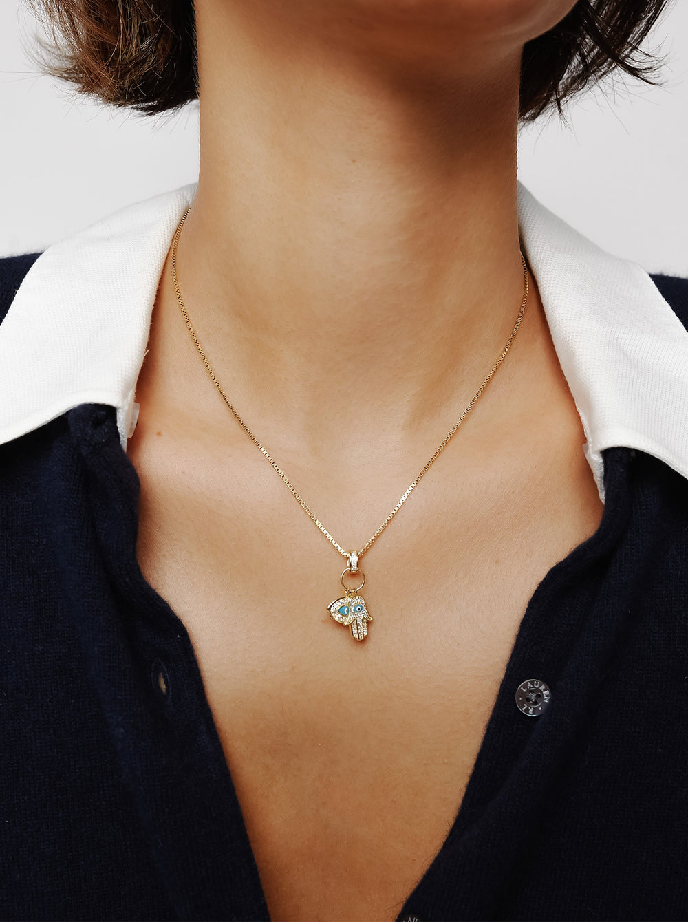 THE EVIL EYE HAMSA DOUBLE CHARM NECKLACE