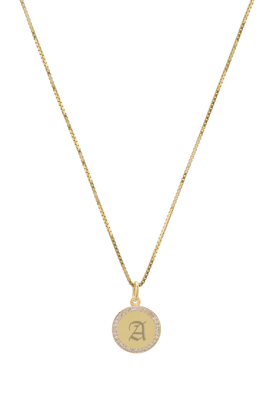 THE 14KT GOLD GOTHIC ENGRAVED PENDANT NECKLACE