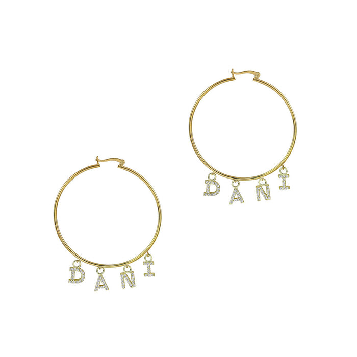 THE HANGING PAVE' BLOCK LETTER HOOPS
