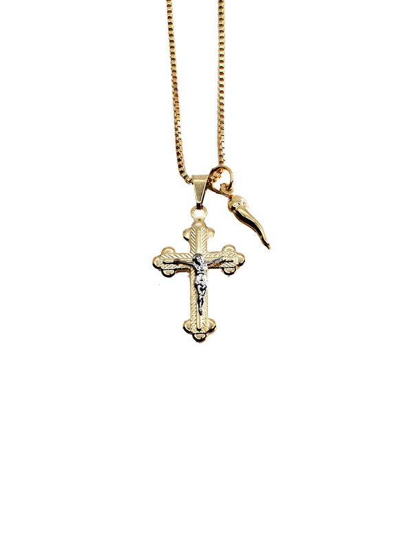 THE CRUCIFIX HORN NECKLACE