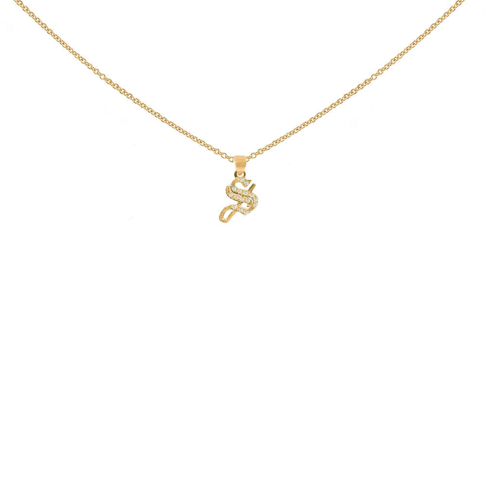 THE SMALL GOTHIC DIAMOND INITIAL NECKLACE