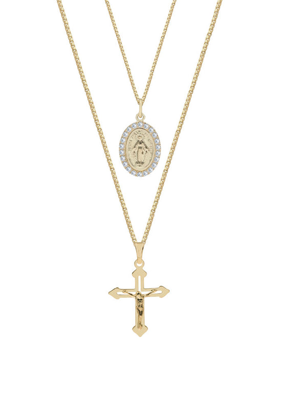 The M Jewelers CRUCIFIX/MEDAL LAYERING SET