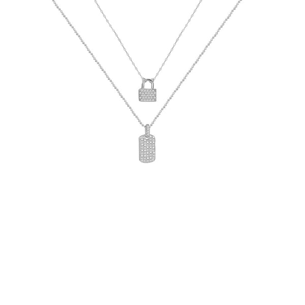 THE LOCK & TAG PAVE' LAYERING NECKLACE