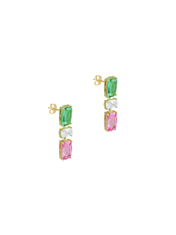 MULTI COLOR CUT DROP EARRINGS