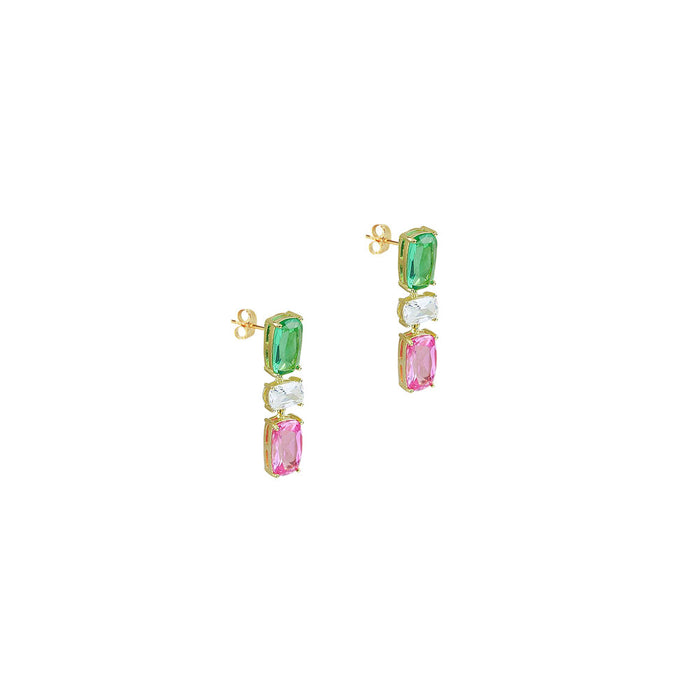 THE MULTI COLOR CUT DROP EARRINGS