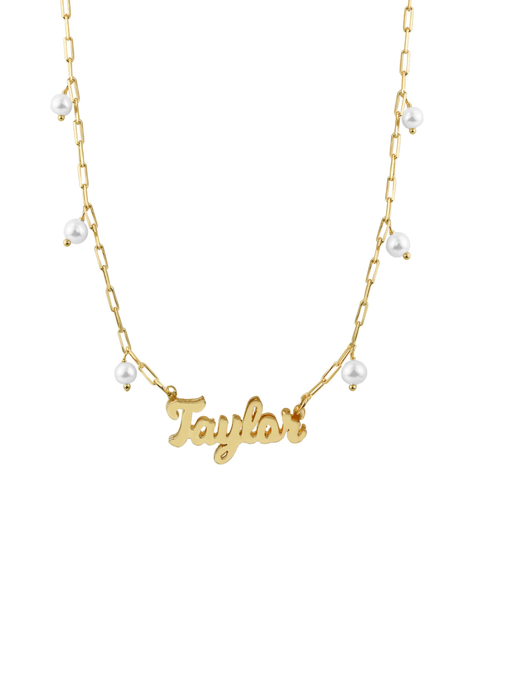 THE SCRIPT PEARL NAMEPLATE NECKLACE