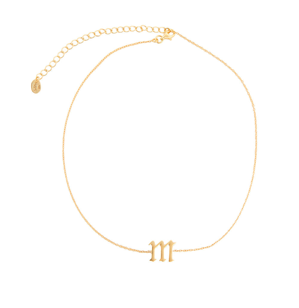 SINGLE LETTER CHOKER LOWERCASE (14KT & DIAMOND)